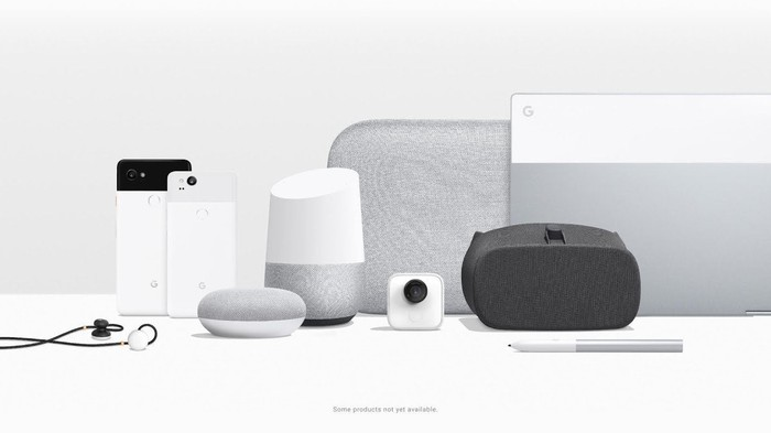 Google's current hardware lineup. Two Pixel phones, a Pixelbook, three sizes of Google Home, a camera, pen, earbuds, all of them displayed in white and silver.