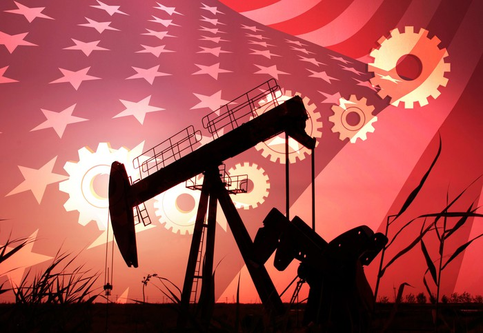 An oil pump with an American flag in the background.