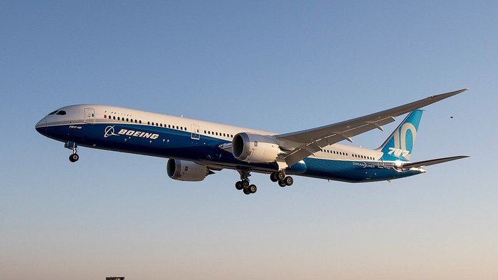 A Boeing 787 Dreamliner in the air