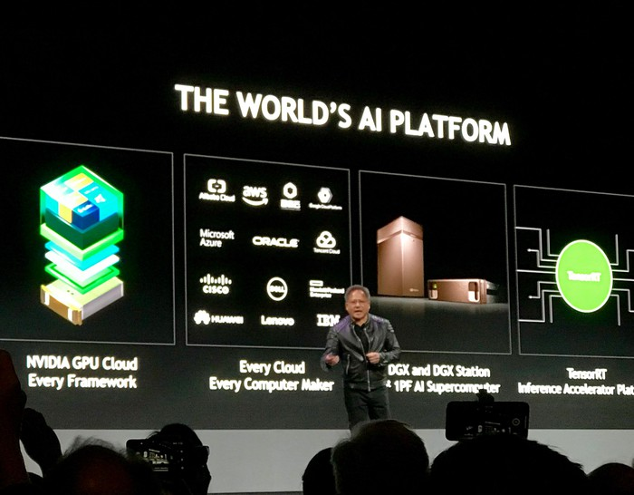 NVIDIA CEO Jensen Huang presenting on stage at CES 2018.