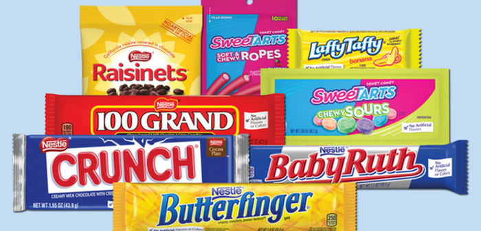 A picture of Nestle's candy: a Baby Ruth, Butterfinger, Crunch, 100 Grand, Raisinets, Sweet Tarts, and Laffy Taffy.