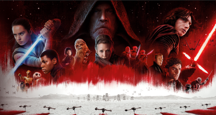 """Ad for """"Star Wars: The Last Jedi"""" showing numerous characters, some with light sabers."""