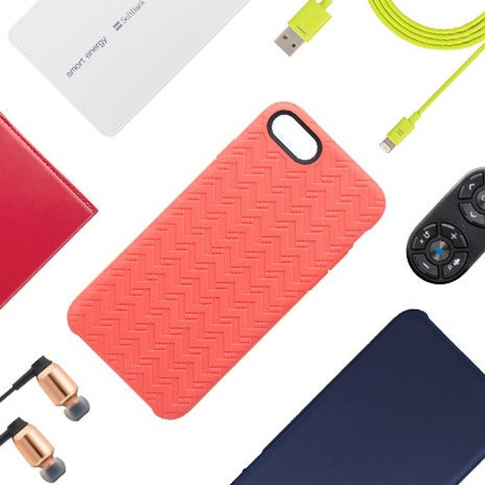 Various smartphone accessories, like cases, chargers, and earbuds available for purchase by Softbank customers.