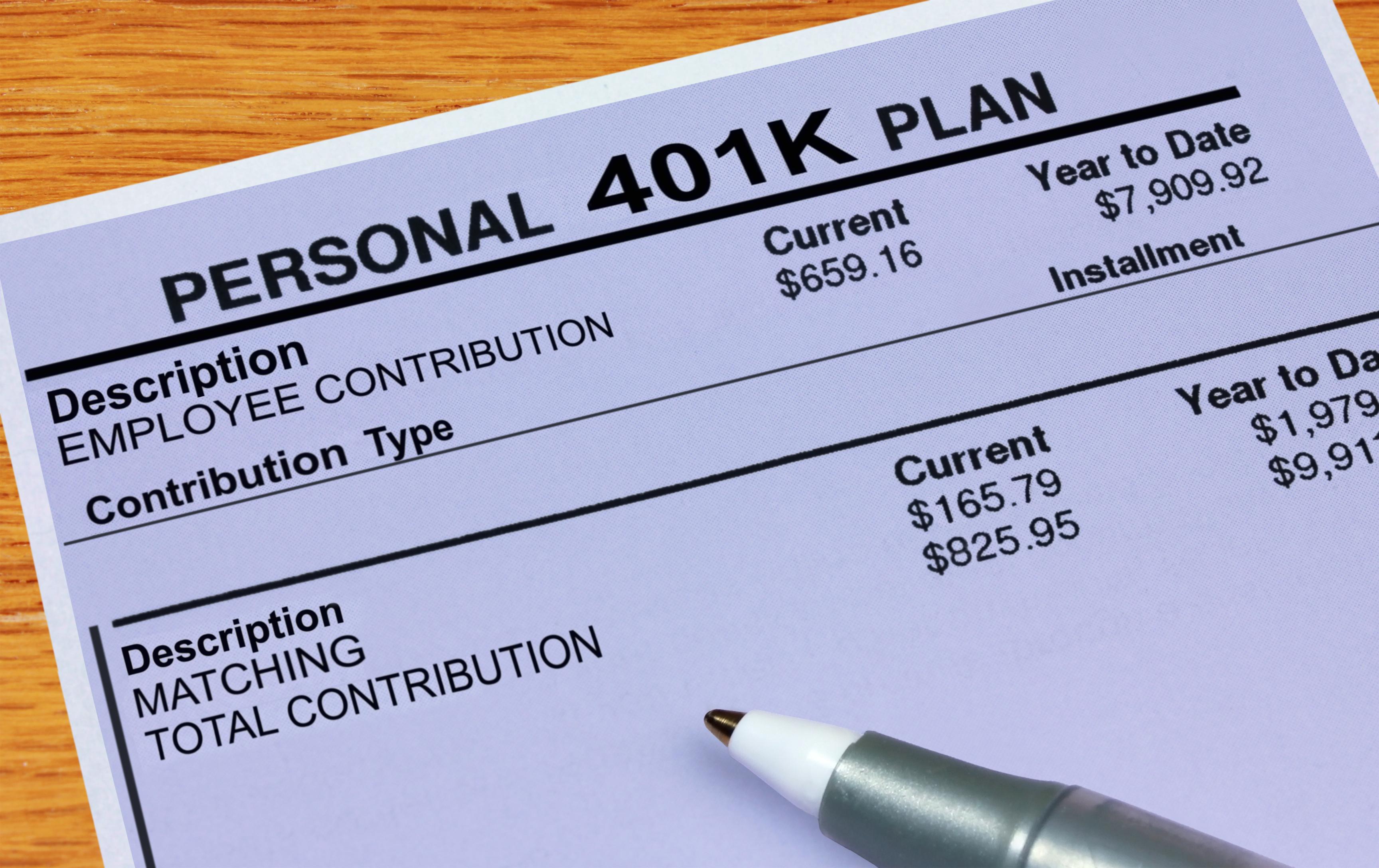 401(k) statement showing employer matching contribution