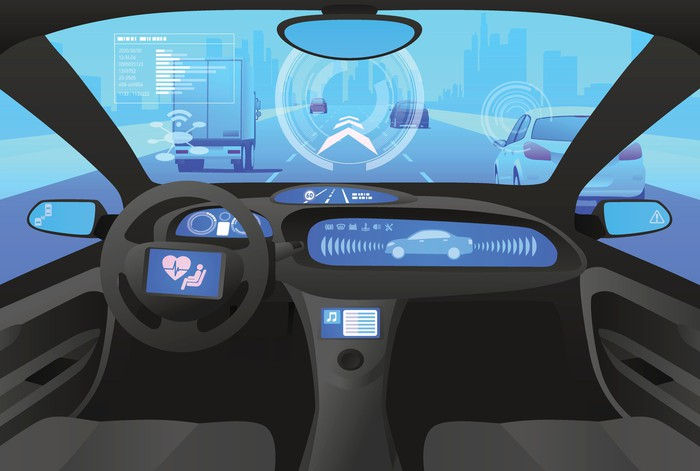 A self-driving car sensing the road in front of it.