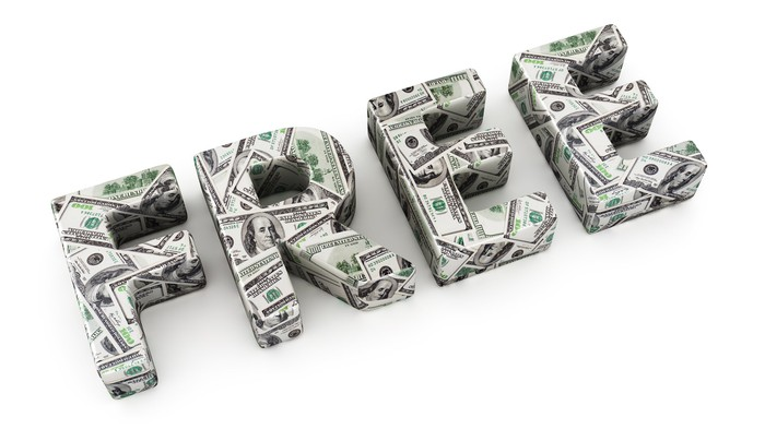 the word free created in 3-d with dollar bills