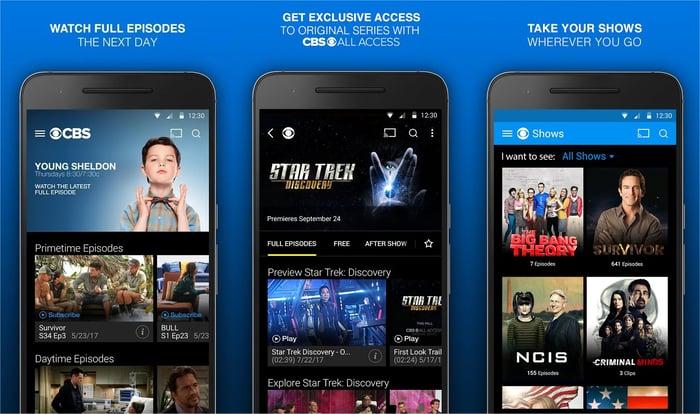 CBS' mobile app.