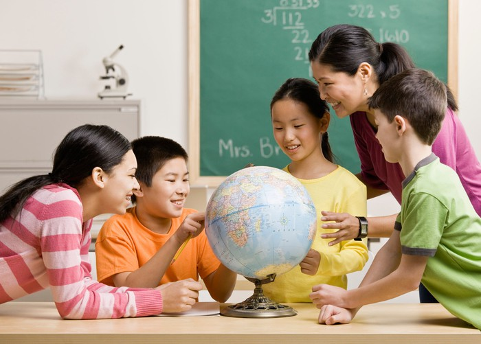 Teacher and students looking at a globe.