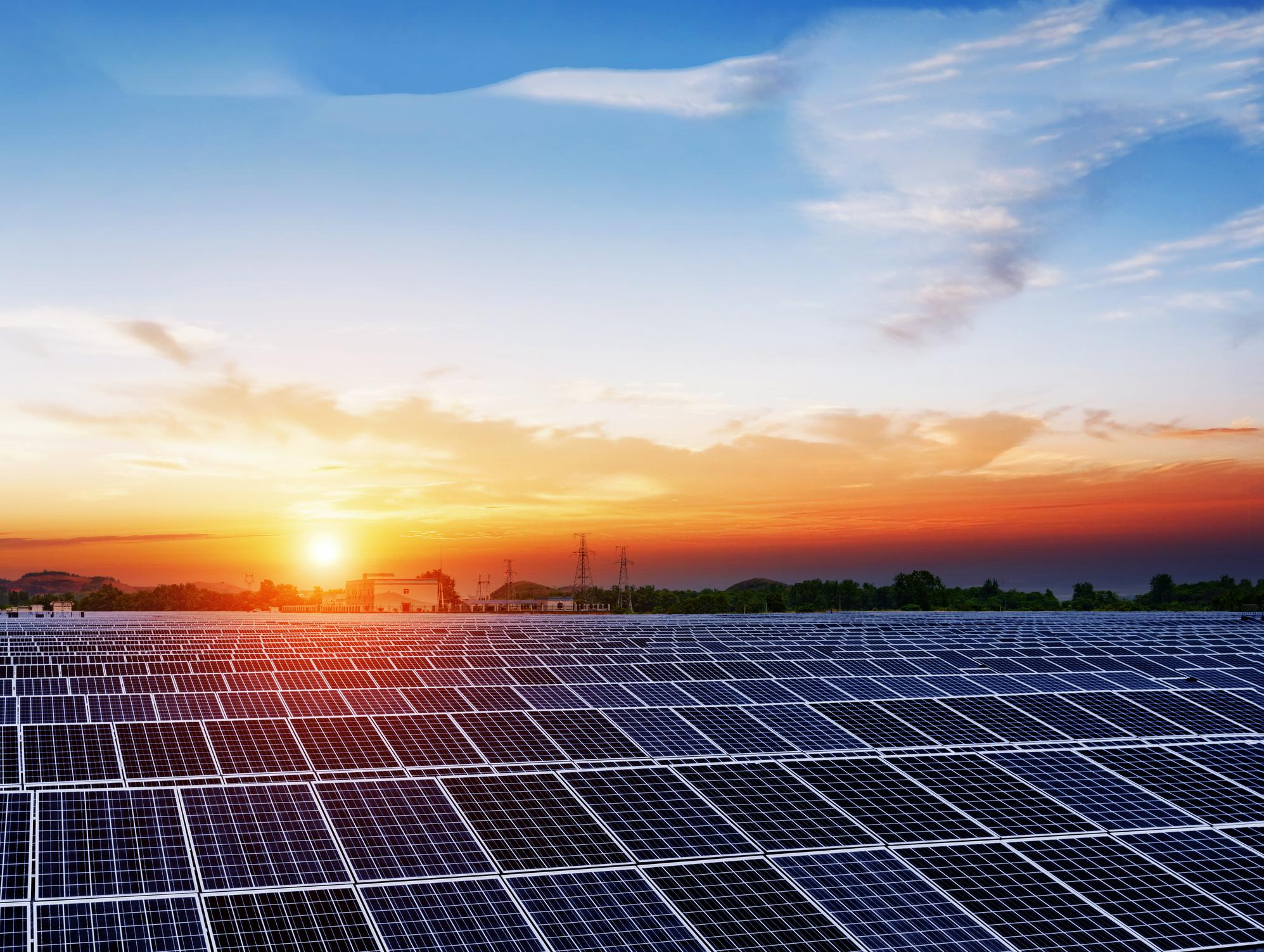 Solar panels under a blue sky at sunset.