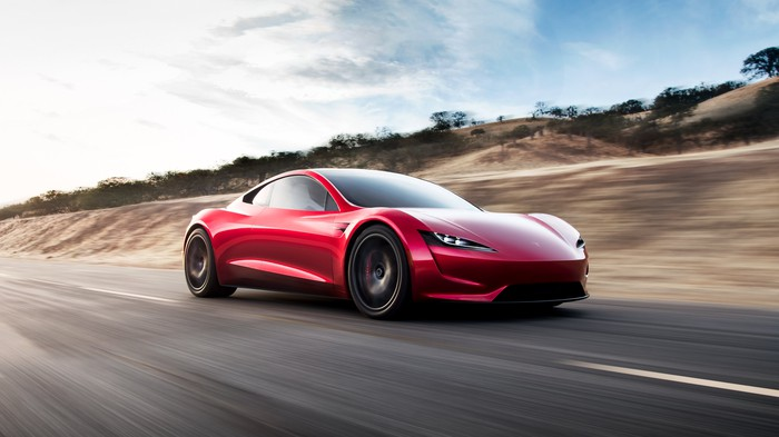 Second-generation Tesla Roadster driving on a road