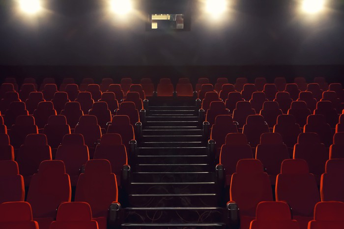 Image shows an empty movie theater.