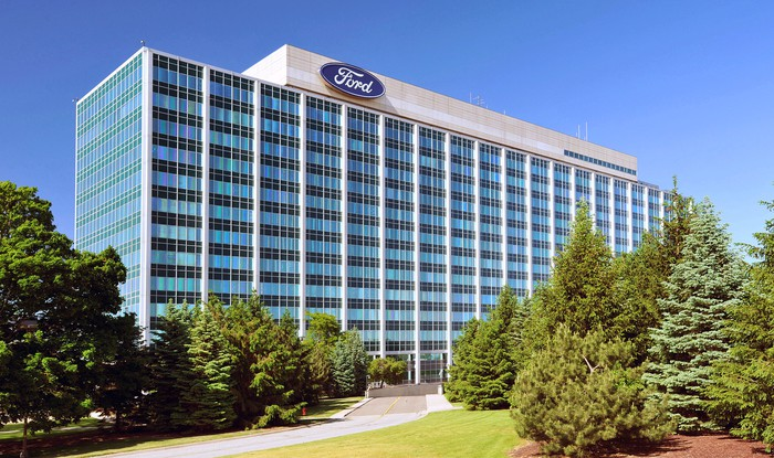 Ford's headquarters building, with part of its front lawn visible