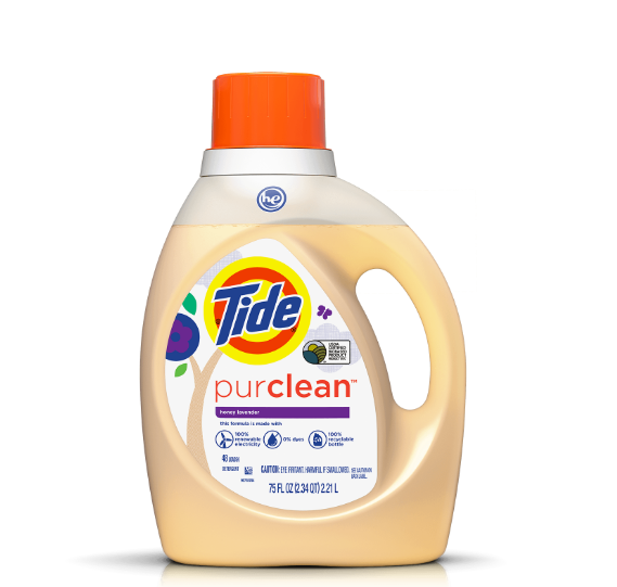 Bottle of Tide Purclean with cream colored package and iconic red Tide cap.