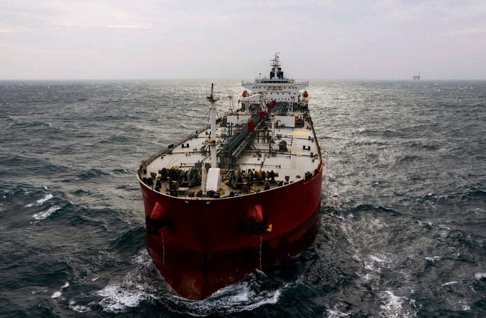 An ocean-going tanker vessel.