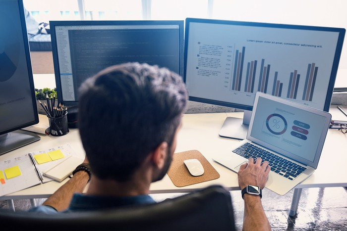 Man looking at computer screens with graphs.
