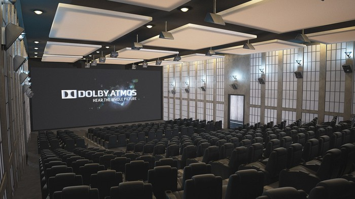 Empty Dolby Atmos theater with all lights on, speakers neatly lined up on ceiling and walls