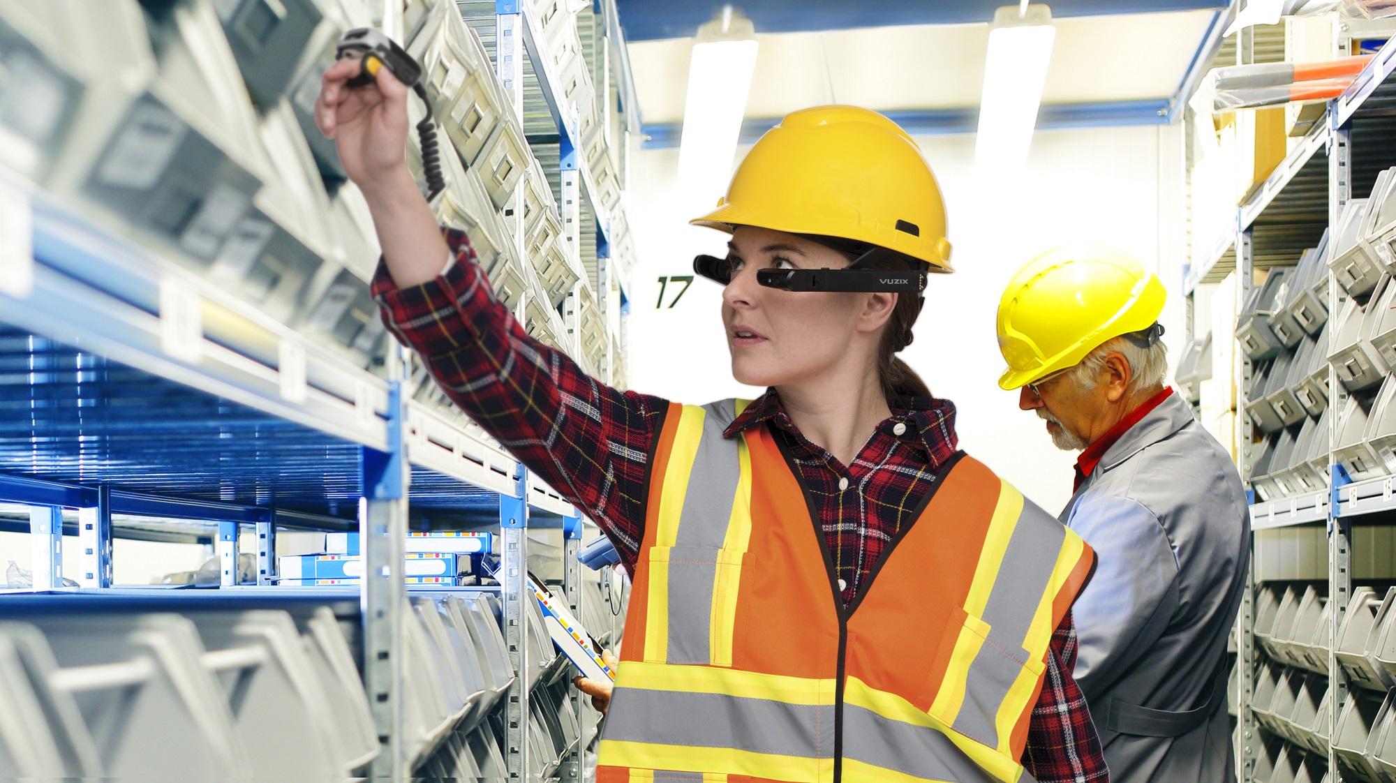 Warehouse worker wearing Vuzix smart glasses