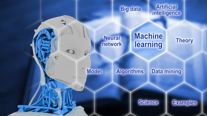 3D rendered robotic head and honeycomb of AI terms including machine learning.
