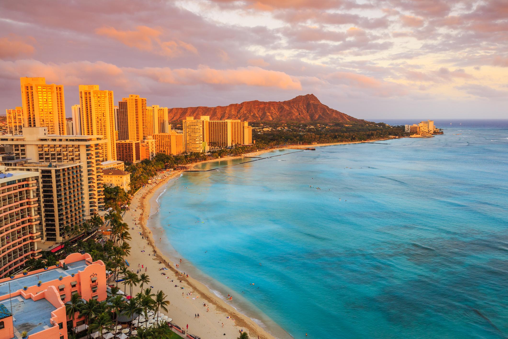The Honolulu shoreline.