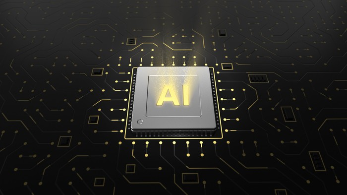 Computer chip with letters AI on it.