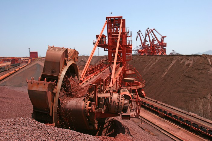 Digging equipment at an iron ore mine.