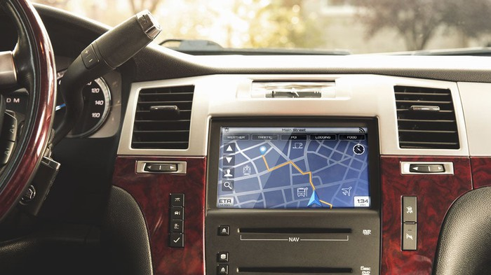 Picture from inside a car of a Synaptics infotainment system.
