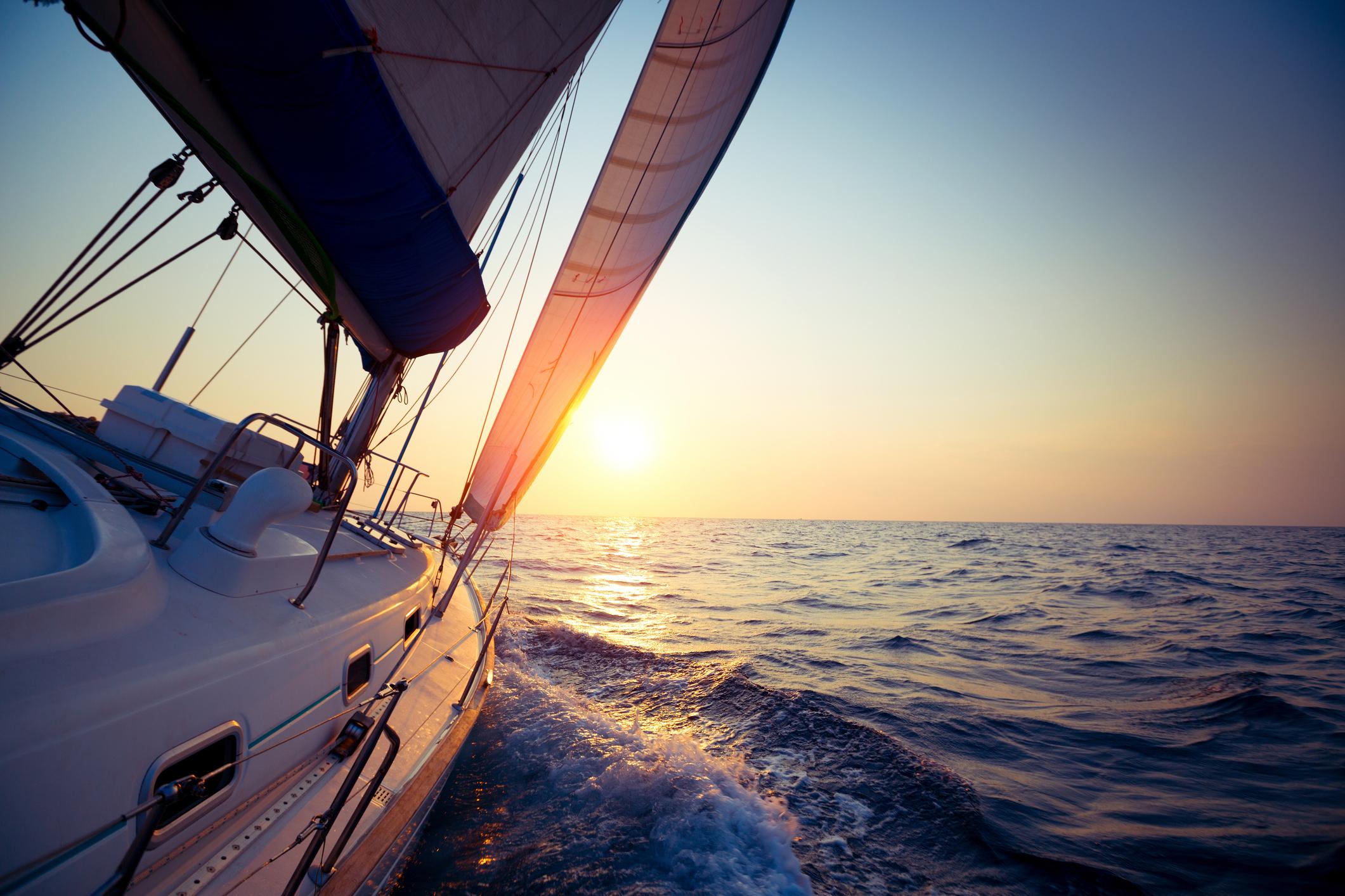 Yacht sailing on ocean