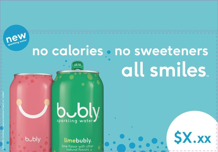 Advertisement for new brand Bubly with two green and pink cans and the U in the name looks like a smile.