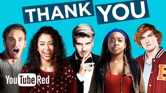 YouTube Red thanking subscribers.
