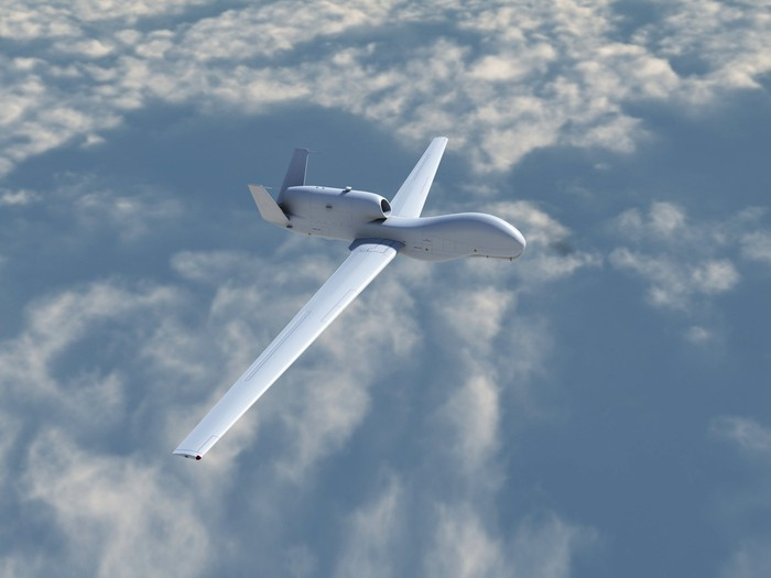 Global Hawk UAV above the clouds