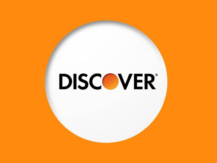 Discover Financial logo surrounded by orange.