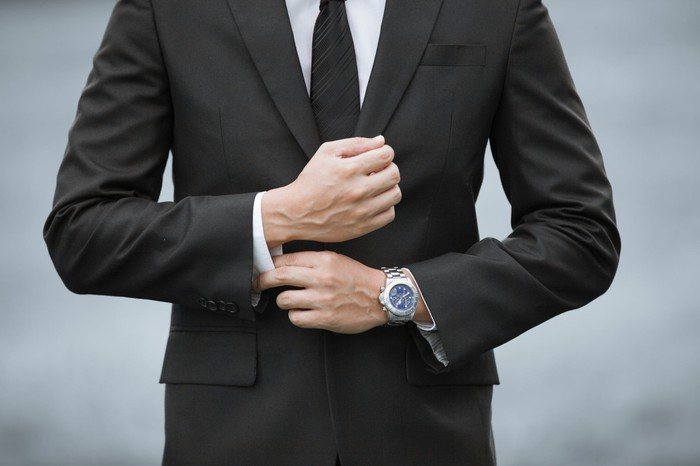 A man in a suit.