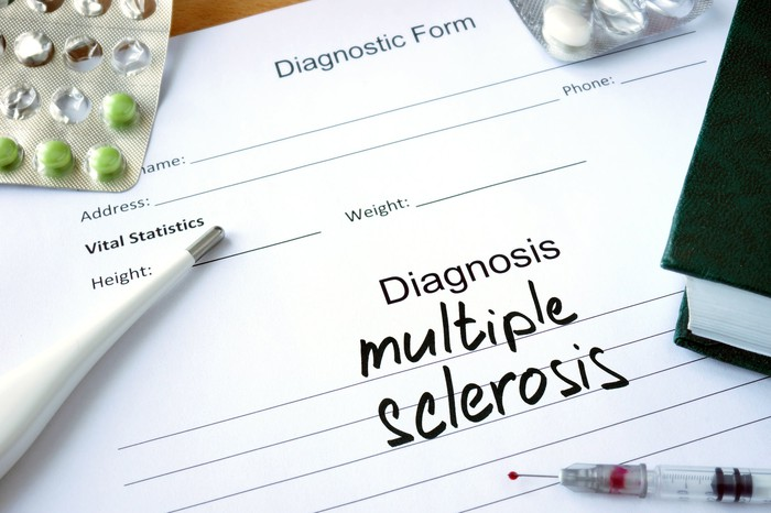 """Diagnostic form with """"multiple sclerosis"""" written on it, along with a thermometer, syringe, and packs of pills"""