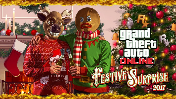 Grand Theft Auto Online graphic art depicting two game characters dressed in holiday attire sitting by a Christmas tree and fireplace.