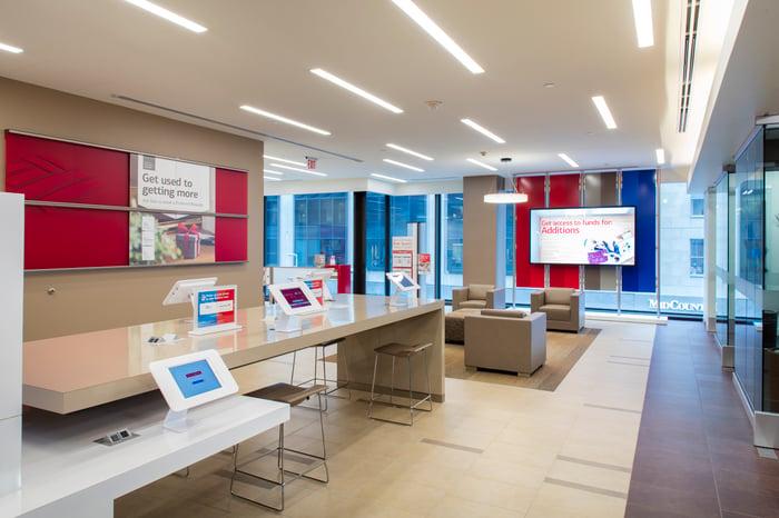 Lobby of a modern Bank of America branch.