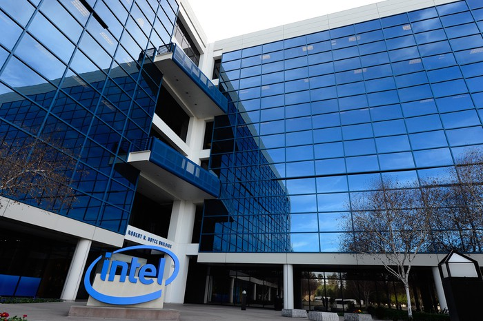 The exterior of Intel headquarters.