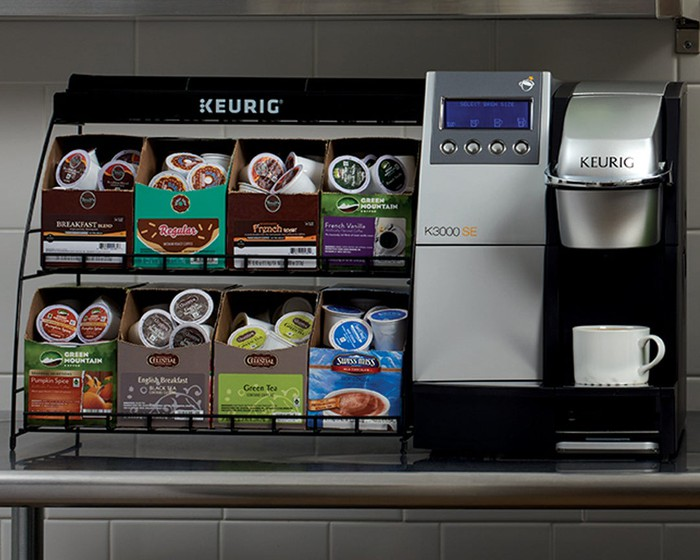 A commercial Keurig coffee station