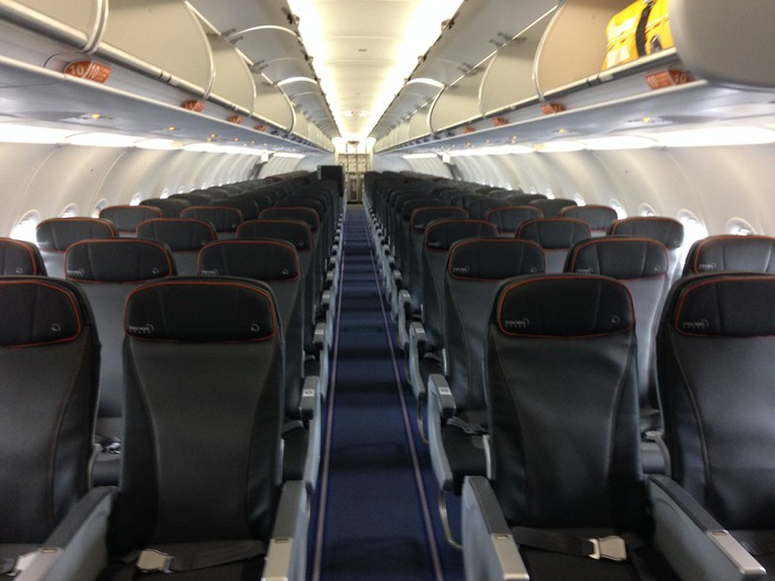 The interior of a JetBlue all-core Airbus A321