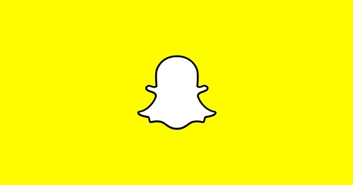 Snapchat's logo, a white cartoon ghost on a yellow background.