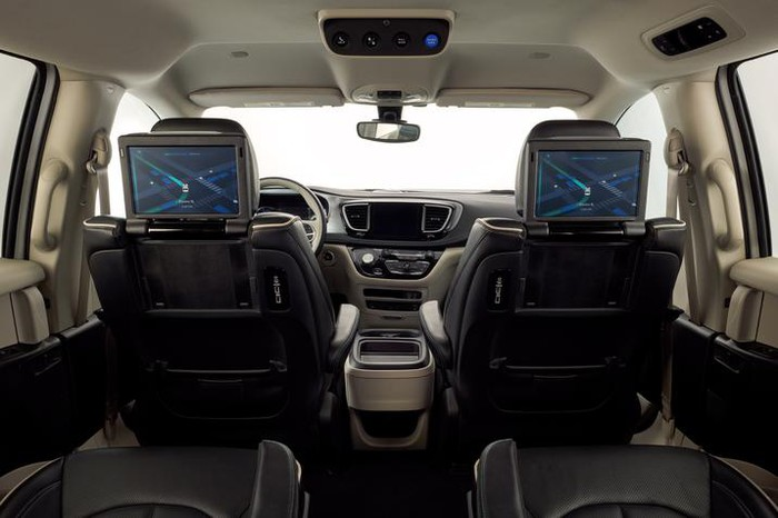 The interior of a self-driving minivan.