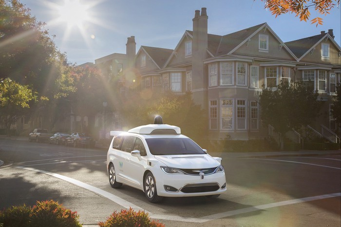 A Chrysler Pacifica minivan outfitted with Waymo self-driving technology on a sunny street.