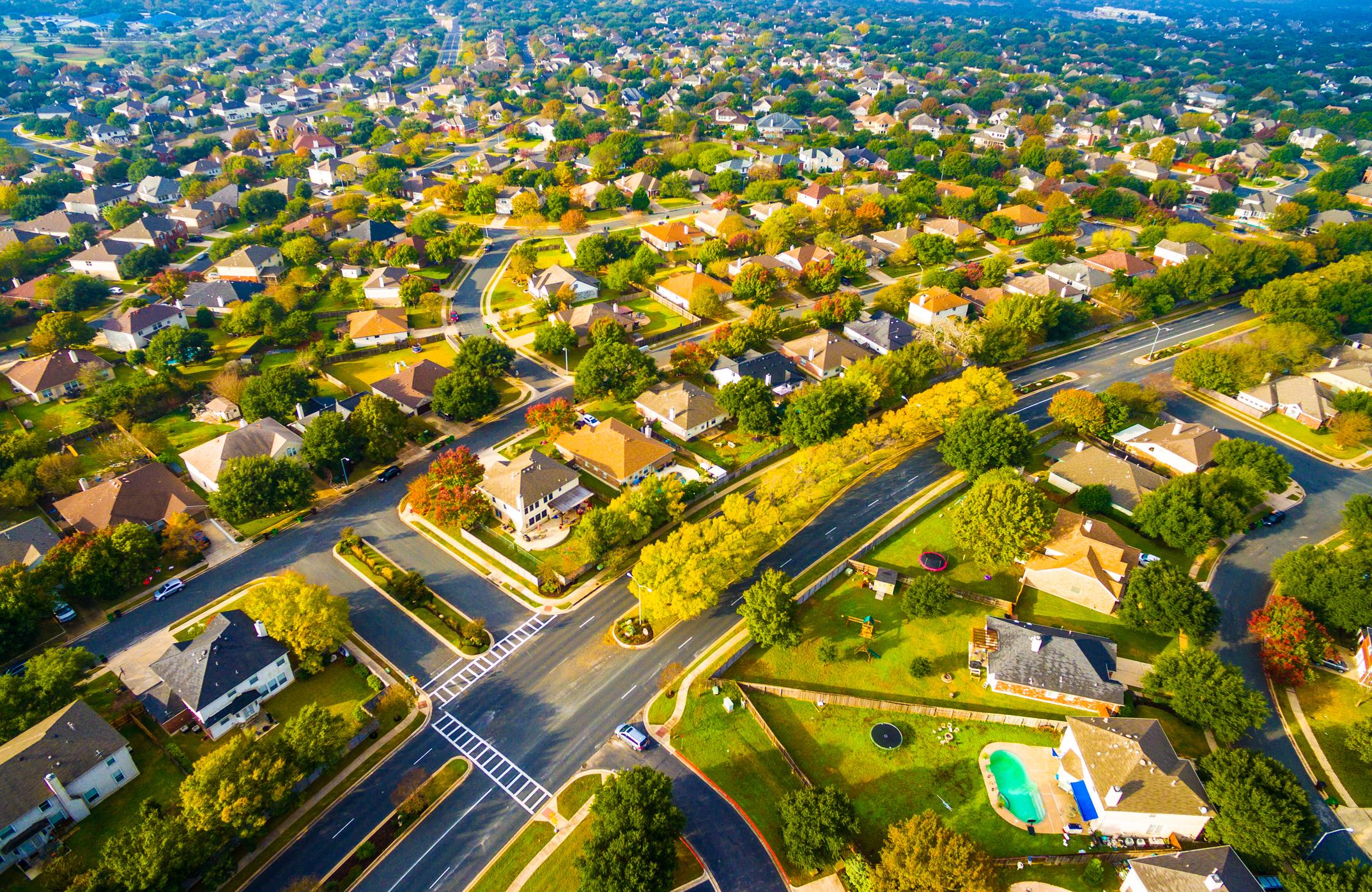 Overhead photo of housing development