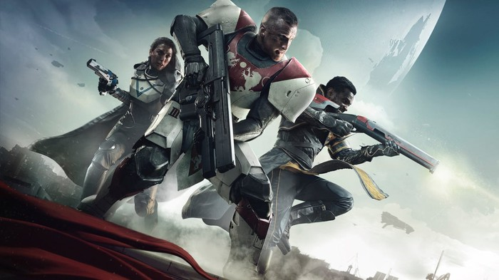 Activision's Destiny 2 box art depicting characters holding weapons.