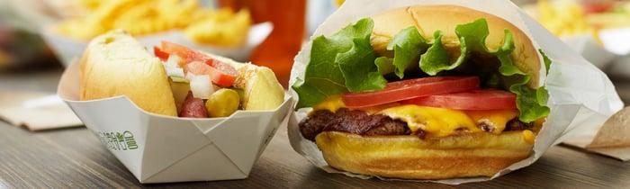 A Shake Shack burger and hot dog