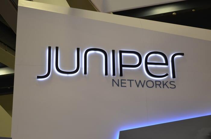 A Juniper Networks sign.