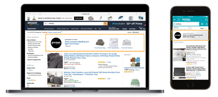 Screenshots showing the placement of Amazon sponsored listings.