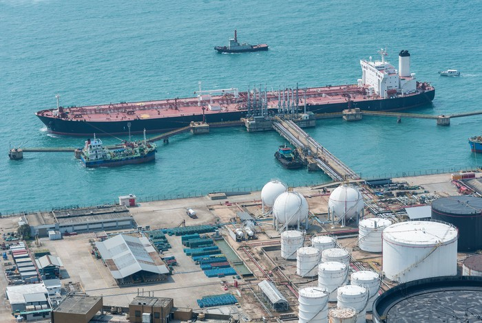 Overhead shot of oil import/export terminal
