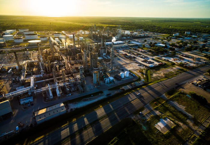 Overhead shot of Oil refinery at sunset.
