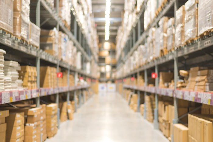Rows of warehouse inventory.