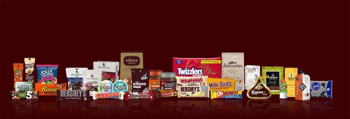 A selection of products in the Hershey brand portfolio including Reese's and Twizzlers